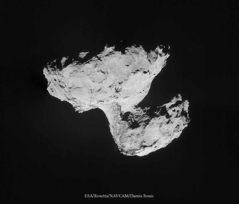 Mosaïque des images prises le 31 août par la caméra de navigation de Rosetta, à près de 61 km du noyau. Crédits : ESA/Rosetta/NavCam/Damia Bouic.