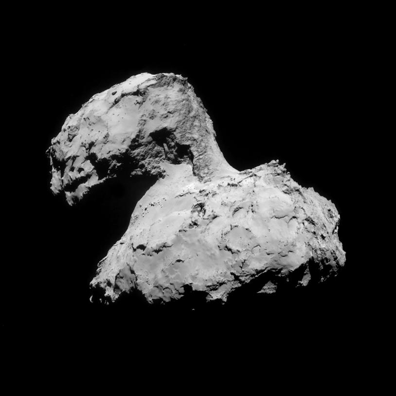 Mosaïque des images prises le 31 août par la caméra de navigation de Rosetta, à près de 61 km du noyau. Crédits : ESA/Rosetta/NavCam/Daniel Machá?ek.