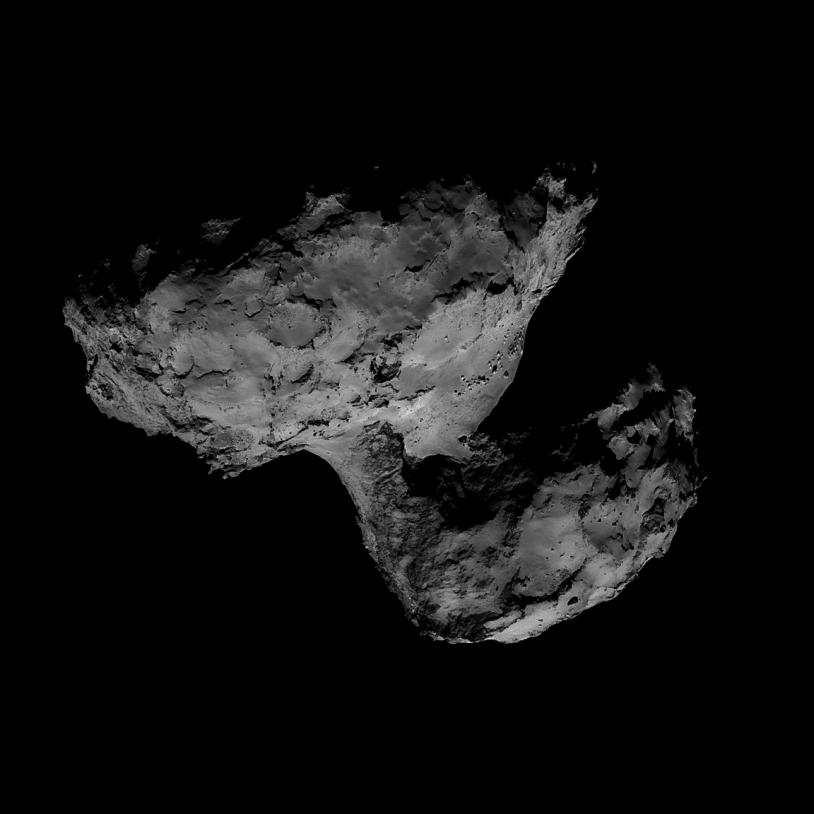 Mosaïque des images prises le 31 août par la caméra de navigation de Rosetta, à près de 61 km du noyau. Crédits : ESA/Rosetta/NavCam/Limax7.