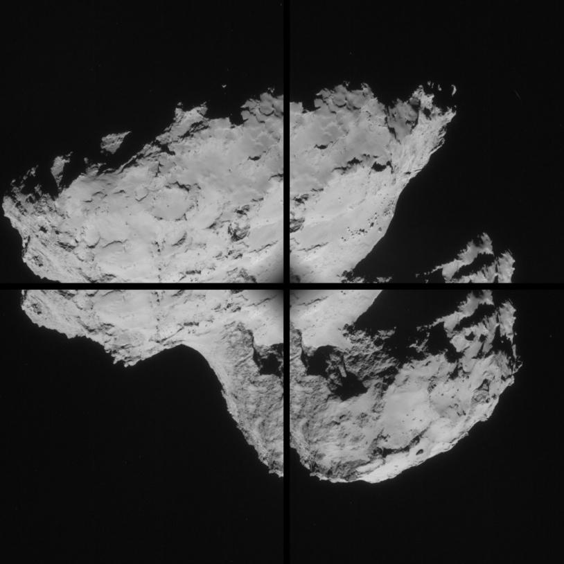 Ces 4 images ont été prises le 31 août par la caméra de navigation de Rosetta, à près de 61 km du noyau. Crédits : ESA/Rosetta/NavCam.