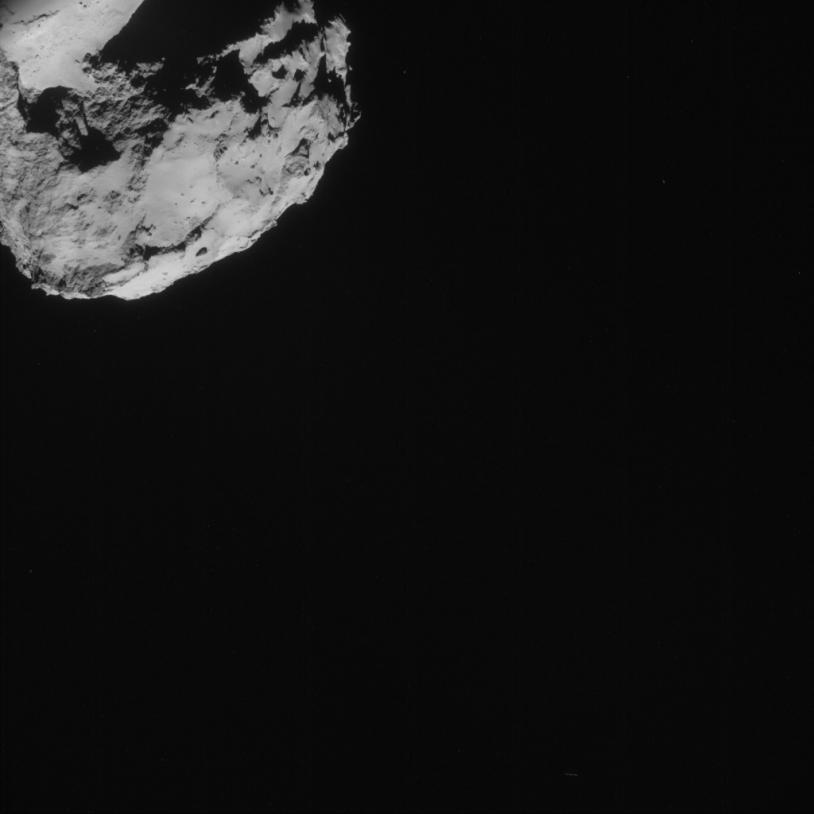 Image prise le 31 août par la caméra de navigation de Rosetta, à près de 61 km du noyau. Crédits : ESA/Rosetta/NavCam.