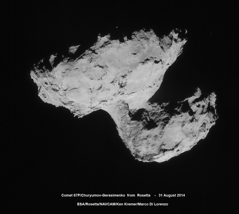 Mosaïque des images prises le 31 août par la caméra de navigation de Rosetta, à près de 61 km du noyau. Crédits : ESA/Rosetta/NavCam/Ken Kremer et Marco Di Lorenzo.