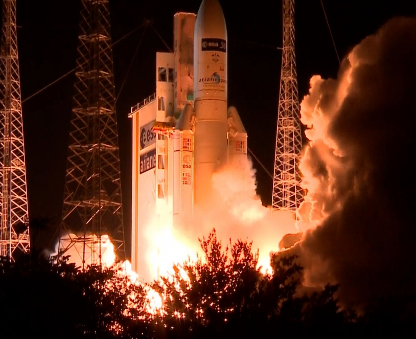 Liftoff Ariane 5 with ATV-5 on board. Credits: ESA-CNES-Arianespace/Optique vidéo du CSG.