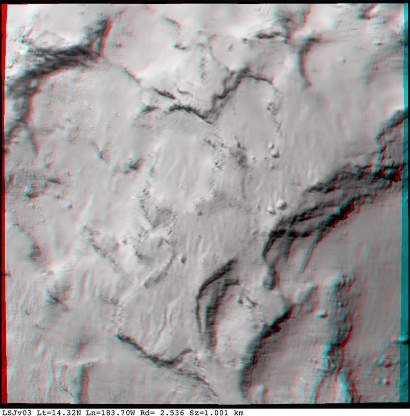 Anaglyphe centré sur le site J (utilisez des lunettes avec un filtre rouge à gauche et vert ou bleu à droite) ; 26 août à 48 km du noyau avec une résolution de 0,96 m/pixel. Crédits : ESA/Rosetta/MPS for OSIRIS Team MPS/UPD/LAM/IAA/SSO/INTA/UPM...