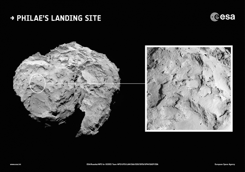 Location of Site J on the comet's 'head' selected as the primary landing site for Philae on the nucleus of 67P on 11 November. Credits: ESA/Rosetta/MPS for OSIRIS Team MPS/UPD/LAM/IAA/SSO/INTA/UPM/DASP/IDA.