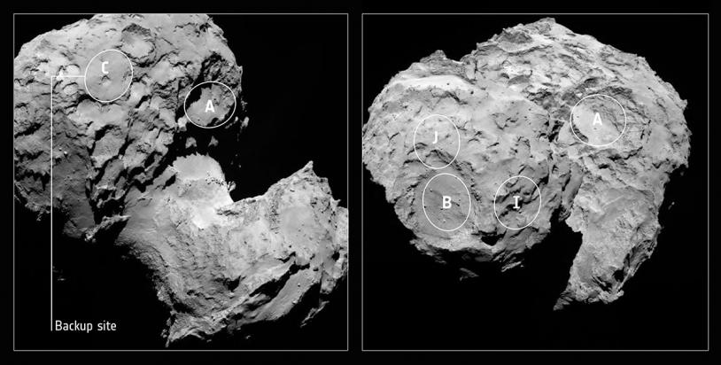 Location of landing sites shortlisted end August. Credits: ESA/Rosetta/MPS for OSIRIS Team MPS/UPD/LAM/IAA/SSO/INTA/UPM/DASP/IDA.