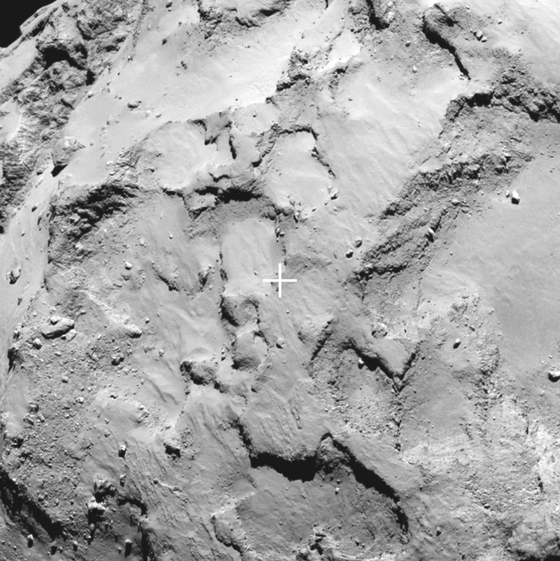 Close-up of Site J, the primary landing site for Philae on the nucleus of comet 67P on 11 November; image acquired on 20 August 2014 at a distance of 67 km from the comet at a resolution of 1.2 m/pixel. Credits: ESA/Rosetta/MPS for OSIRIS Team MPS/UPD/LAM