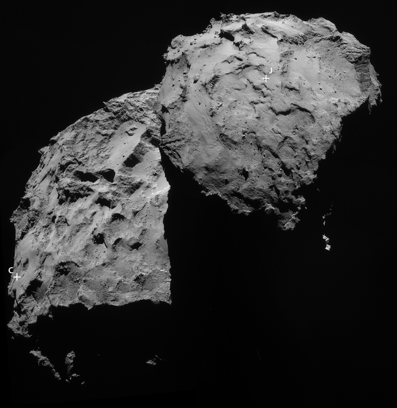 Image de la NavCam de Rosetta prises le 14 septembre 2014 (30 km de distance, résolution de 2,5 m/pixel environ). La position du site J est indiquée précisément, celle de C est plus approximative à cause de l'angle de vue. Crédits : ESA/Rosett...