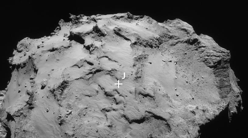 Portion de l'image montrant le petit lobe et le site J ; 14/09/2014, 30 km de distance, résolution de 2,5 m/pixel environ. Remarquez les reliefs extrêmes le long du limbe. Crédits : ESA/Rosetta/NavCam.