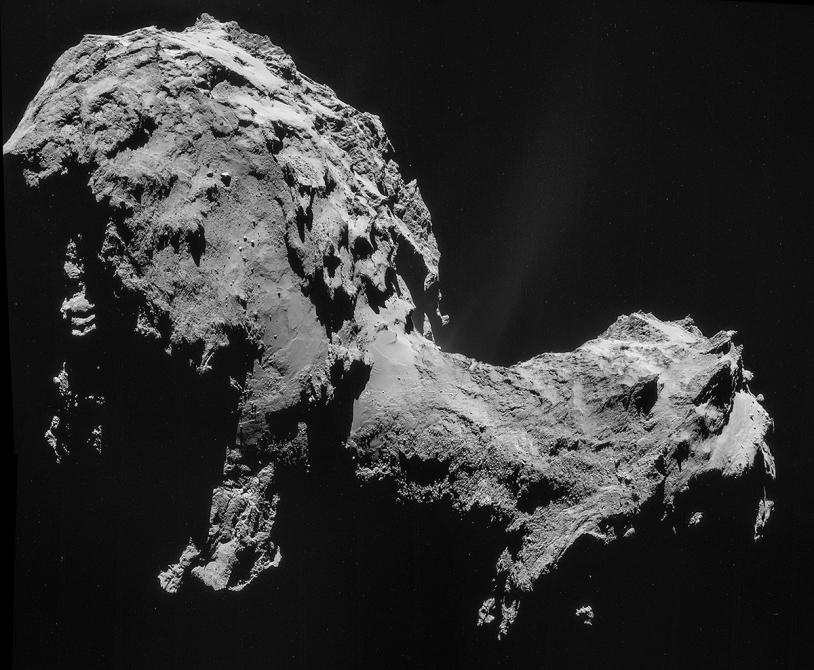Assemblage de 4 images de la NavCam prises le 19 septembre à 28,6 km du centre du noyau ; résolution de 2,5 m/pixel. Crédits : ESA/Rosetta/NavCam.