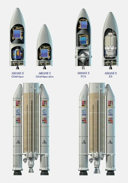 Different types of upper section for Ariane 5. Credits: Esa/D.Ducros