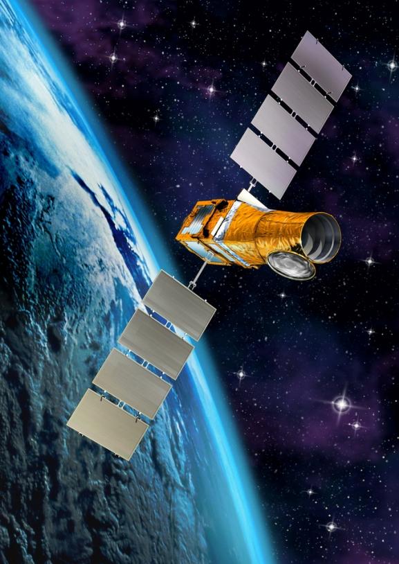 Corot en orbite autour de la Terre. Crédits : CNES, D.Ducros.