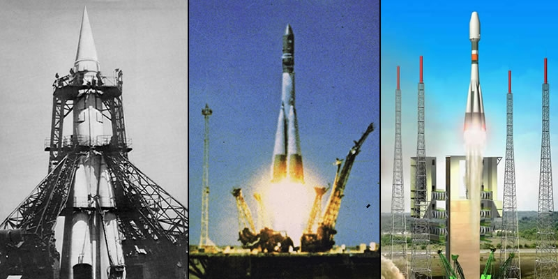 Soyuz through the ages... From left to right : the Semiorka-Sputnik launch vehicule (1957), Gagarin launch vehicle (1961) and artist's view of the new version launched from Guiana (Crédits : CNES/D. Ducros)