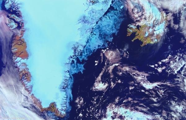 Le Groenland observé par l'instrument Végétation à bord de Spot 4. Crédits : CNES/Dist. Spot Image