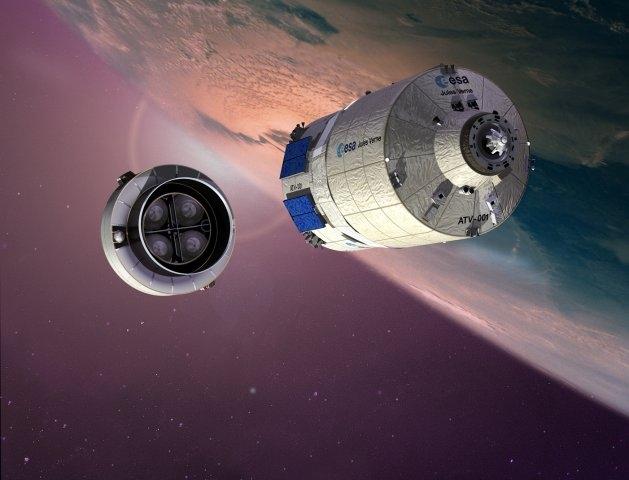 Séparation entre l'ATV et l'étage supérieur d'Ariane. Crédits : ESA/D. Ducros