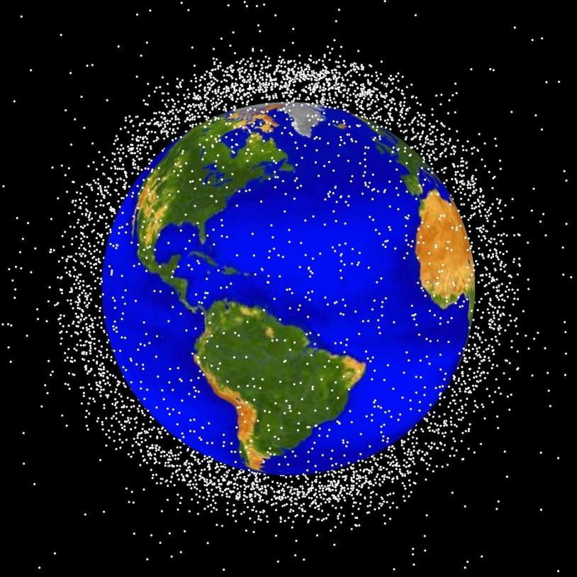 Space debris in low-Earth orbit. Crédit : NASA.