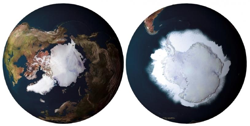 Observation de la Terre par satellite, Arctique (à gauche), Antarctique (à droite). Crédits : ESA/AOES Medialab.