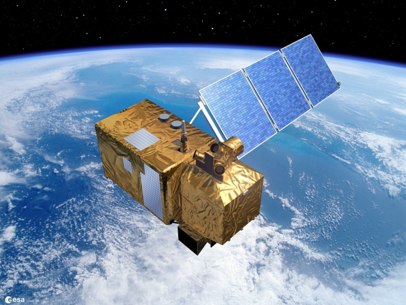 Futur satellite d'observation de la Terre Sentinelle-2, qui procédera au suivi des terres émergées dans le cadre du programme GMES. Crédits : ESA/Ill. P. CARRIL.