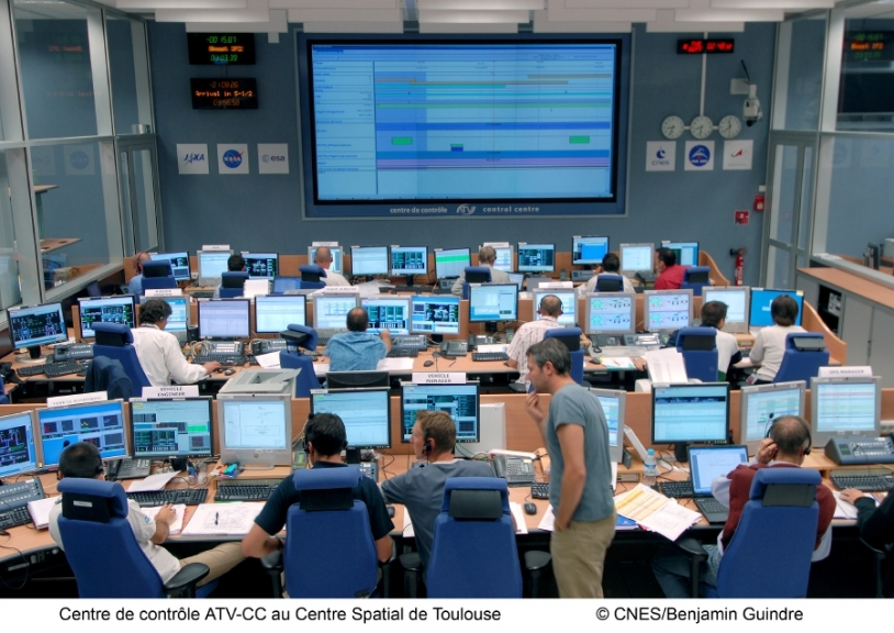 The ATV-CC in Toulouse kept a close eye on undocking operations. Credits: CNES/B. Guindre, 2008.