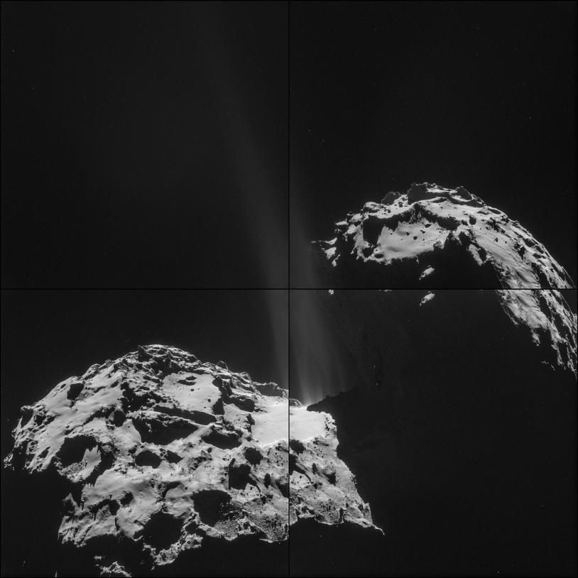 Les 4 images prises par la caméra de navigation de Rosetta le 26 septembre à 26,3 km du centre du noyau de la comète 67P. Crédits : ESA/Rosetta/NavCam.