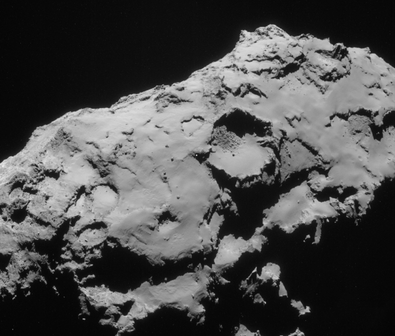 Image acquired 21 September by Rosetta's navigation camera. The back-up site C is just left of centre. Credits: ESA/Rosetta/NavCam.