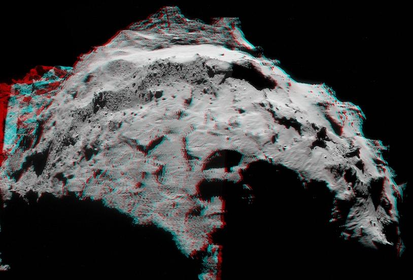 Anaglyphe des images du 30 septembre réalisé par l'amateur Mattias Malmer (lunettes avec filtre rouge à gauche, vert ou bleu à droite). Crédits : ESA/Rosetta/NavCam/Mattias Malmer.