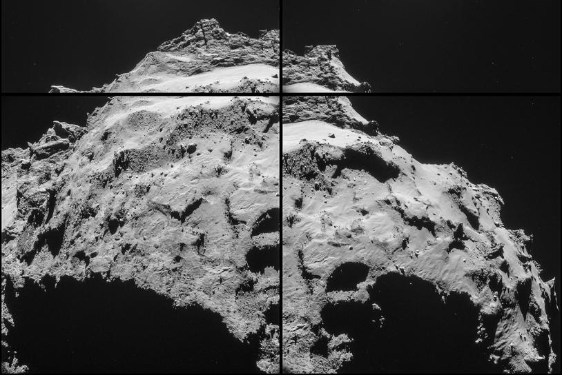 Séquence de 4 images prises le 30 septembre par la caméra de navigation à 18,1 km du centre du noyau. Crédits : ESA/Rosetta/NavCam.