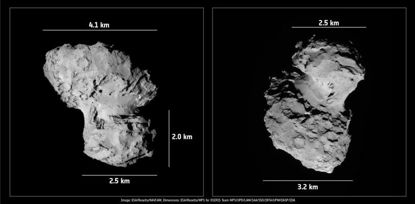 Les dimensions principales du noyau bilobé de la comète 67P (images prises le 19 août 2014 par la caméra de navigation). Crédits : ESA/Rosetta/NavCam/OSIRIS.