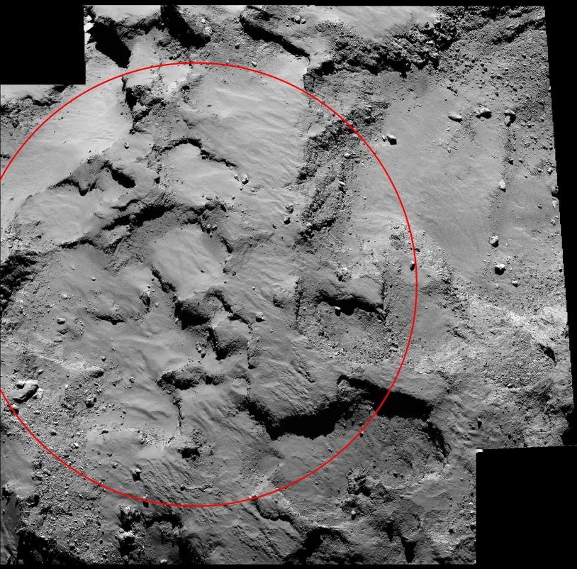 Mosaïque de 2 images d'OSIRIS-NAC, prises le 14/9 à 30 km de distance (0,5 m/pixel) +  image NavCam. Le cercle mesure 0,5 km de diamètre et il est centré sur le site J. Crédits : ESA/NavCam/Rosetta/MPS OSIRIS Team MPS/UPD/LAM/IAA/SSO/INTA/UPM/D...