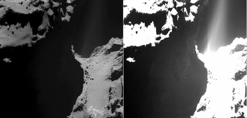 2 images de la région du cou, prises le 20 octobre 2014 par la caméra OSIRIS-WAC à 7,2 km de distance. Pose de 1 s à gauche et de 18,45 s à droite. Crédits : ESA/Rosetta/MPS for OSIRIS Team MPS/UPD/LAM/IAA/SSO/INTA/UPM/DASP/IDA.
