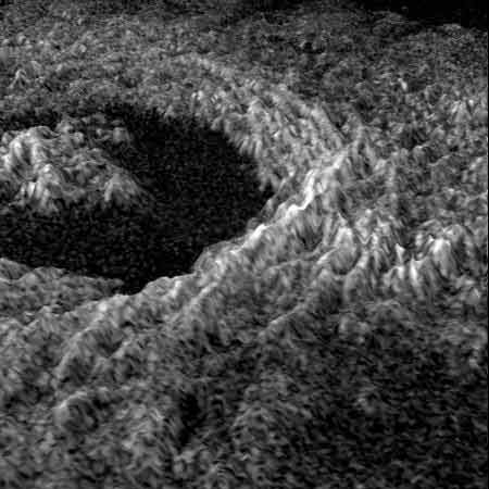 Venus' 34 kilometre-wide Golubkina crater. Studying the number and size of such craters enables us to determine the age of the planet's surface—in this case, just 500 million years old.