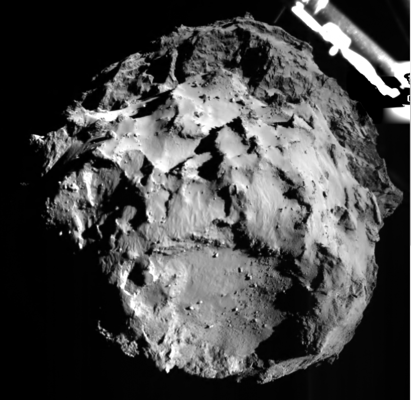 Picture taken during Philae's descent at a distance of 3 km from the comet's surface on 12 November. Credits: ESA/Rosetta/Philae/ROLIS/DLR.