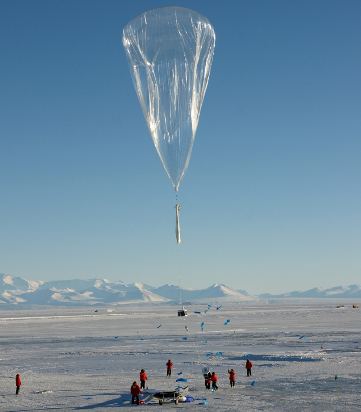 CNES balloon launch during the Concordiasi campaign in 2010 in Antarctica. Credits: CNES/P. Cocquerez.