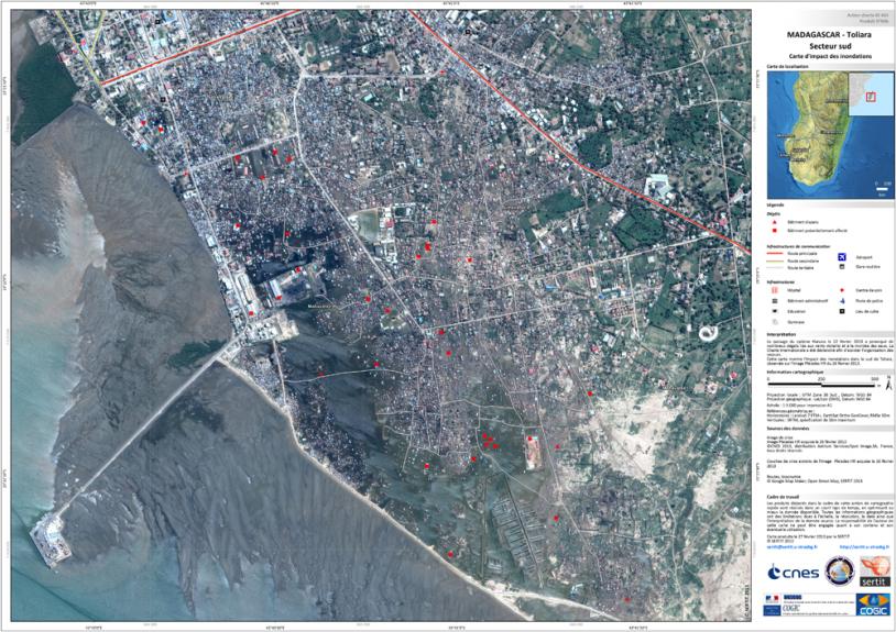 Carte de la ville de Toliara réalisée par le SERTIT de Strasbourg pour Madagascar en 2013. Crédits : CNES 2013/distribution Astrium Services, Spot Image S.A. tous droits réservés Carte produite par le SERTIT.