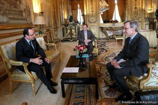 François Hollande a reçu Yannick d'Escatha au palais de l'Elysée, le 20 mars 2013. Crédits : Présidence de la République.
