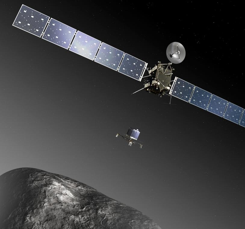 Le petit atterrisseur Philae de Rosetta devrait se poser sur la comète Churyumov-Gerasimenko en novembre 2014. Crédits : ESA - C. Carreau/ATG medialab.