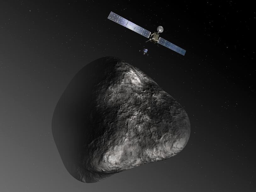 Rosetta et Philae à l'approche de la comète Churyumov-GerasimenkoAvec ses panneaux solaires de 32 m d'envergure, Rosetta est la 1ere sonde alimentée en énergie solaire à voyager au-delà de la ceinture d'astéroïdes. Crédits : ESA.