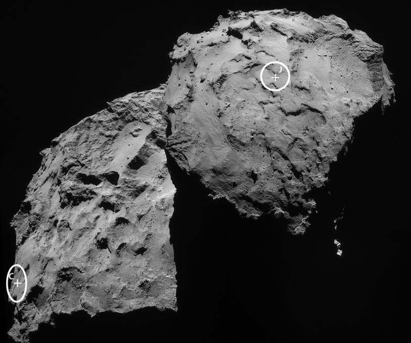 Le site d'atterrissage de Philae désigné par la lettre « J » s'appelle désormais Agilkia. Crédits : Crédits : ESA/Rosetta/NavCam.