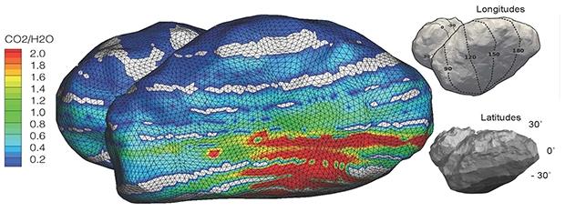 Rapport CO2/H2O mesuré par ROSINA sur la comète durant la période du 17 août au 22 septembre 2014. Crédits : ESA/Rosetta/ROSINA/UBern, BIRA, LATMOS, LMM, IRAP, MPS, SwRI, TUB, Umich.