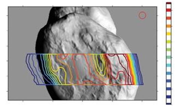 Carte de température de la proche sous surface du noyau (en iso contours) mesurée par l'instrument MIRO. Les plus basses températures (-250 °C, en bleu) sont sur la face non ensoleillée (à gauche sur la figure). Crédits : Gulkis et al.