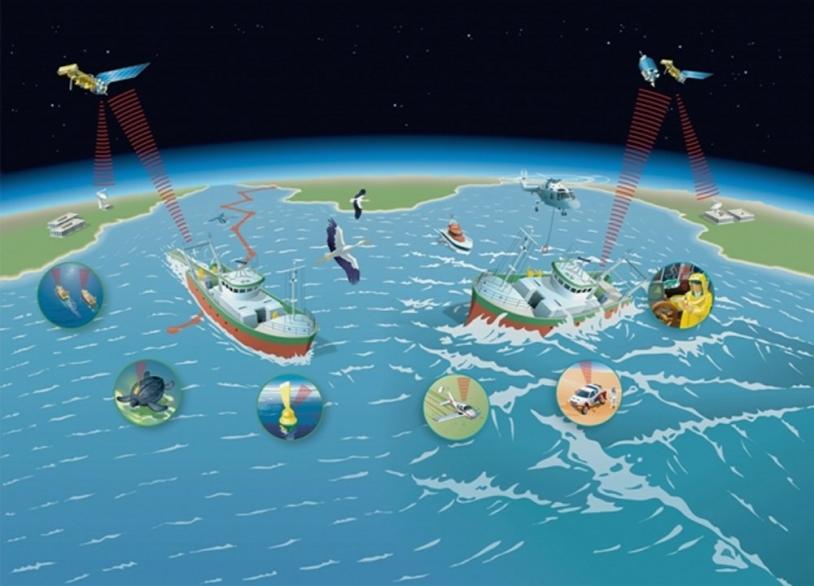 Principe de fonctionnement des systèmes Argos et Cospas-Sarsat ; crédits Art Presse 2002