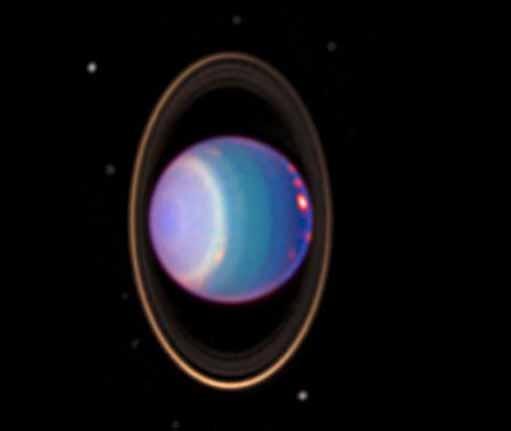 Vue globale d'Uranus. Son axe de rotation se trouve à peu près dans le plan de l'écliptique. Credits : Erich Karkoschka, NASA