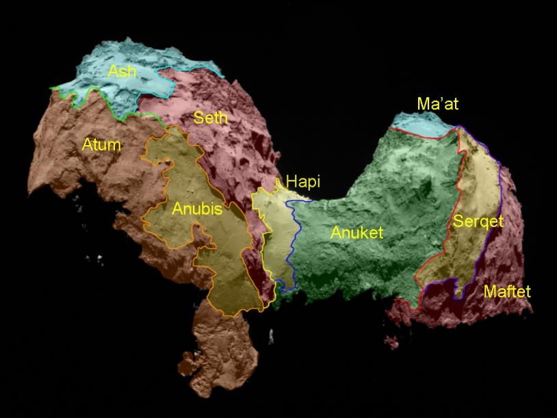 Les régions nommées à ce jour sur le noyau de la comète 67P/Churyumov-Gerasimenko. Crédits : ESA/Rosetta/MPS for OSIRIS Team MPS/UPD/LAM/IAA/SSO/INTA/UPM/DASP/IDA.