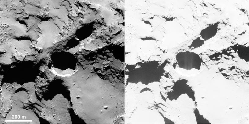 Puit actif sur le grand lobe (Seth) ; image OSIRIS-NAC, 28 août 2014, 60 km de distance (résolution 1 m/pixel) ; contraste augmenté à droite pour révéler l'activité. Crédits : ESA/Rosetta/MPS for OSIRIS Team MPS/UPD/LAM/IAA/SSO/INTA/UPM/DASP...