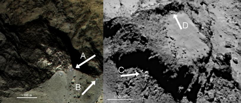 Les petites traces claires visibles sur ces 2 images (frontières des régions Hathor-Anuket et Ash-Khepry) sont probablement de la glace d'eau récemment exposée. Crédits : ESA/Rosetta/MPS for OSIRIS Team MPS/UPD/LAM/IAA/SSO/INTA/UPM/DASP/IDA.