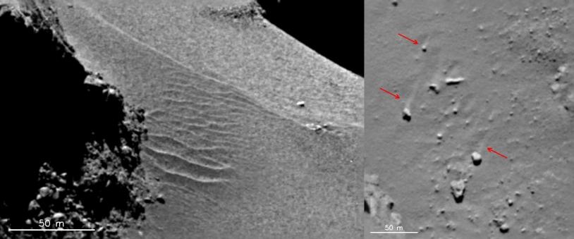 Des ondulations de la surface qui ressemblent à des dunes et des traces laissées par un vent de surface dans la région du cou (Hapi) (images du 18 septembre 2014). Crédits : ESA/Rosetta/MPS for OSIRIS Team MPS/UPD/LAM/IAA/SSO/INTA/UPM/DASP/IDA.