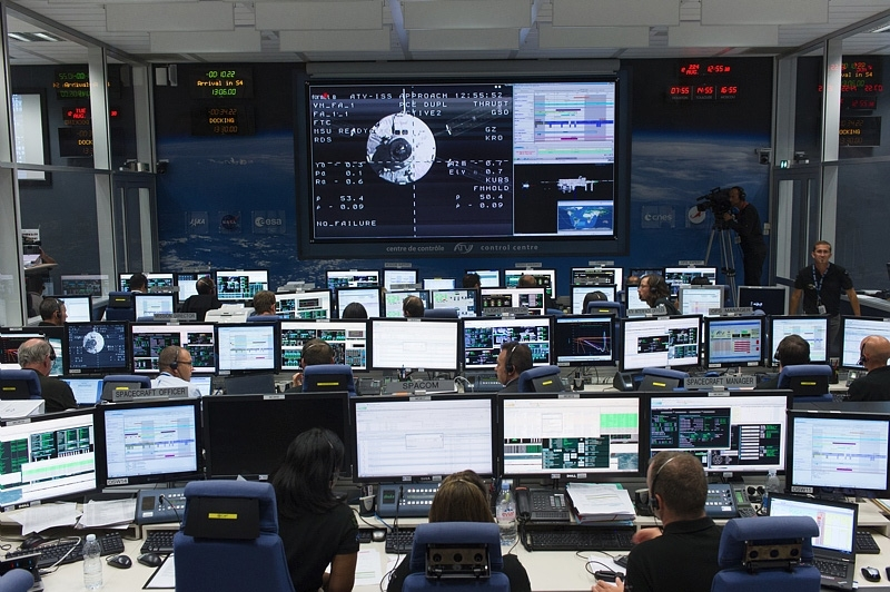 Centre de contrôle de l'ATV au CNES de Toulouse. Crédits : CNES/M. Pédoussaut, 2014.