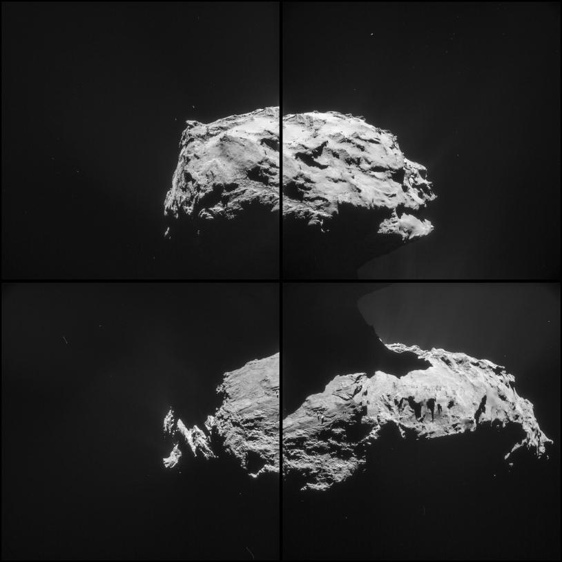 Les 4 images de la 4e séquence réalisée par la NavCam de Rosetta, le 14 février 2015 à 19h42 TU, à 31,6 km de distance du centre du noyau ; résolution de 2,7 m/pixel, chaque champ mesure 2,8 km de côté. Crédits : ESA/Rosetta/NAVCAM – CC BY...