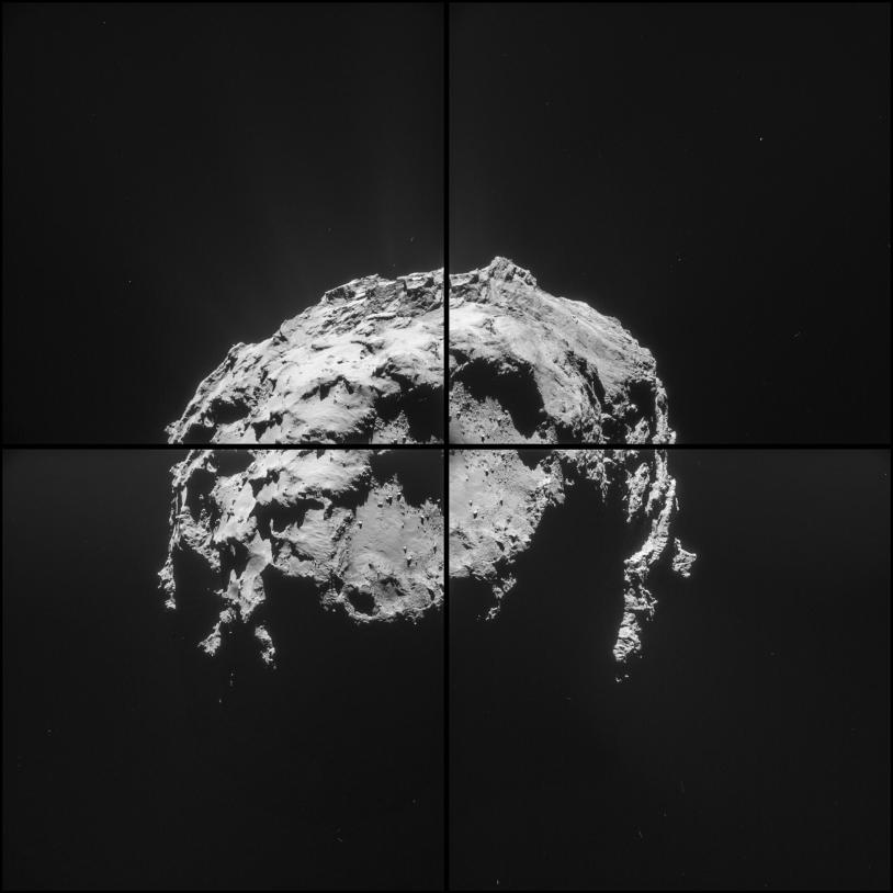 Séquence de 4 images réalisée par la caméra de navigation de Rosetta, le 14 février 2015 à 4h32 TU, à 35 km de distance du centre du noyau ; résolution de 3 m/pixel. Le petit lobe est au premier plan. Crédits : ESA/Rosetta/NAVCAM – CC BY-SA...