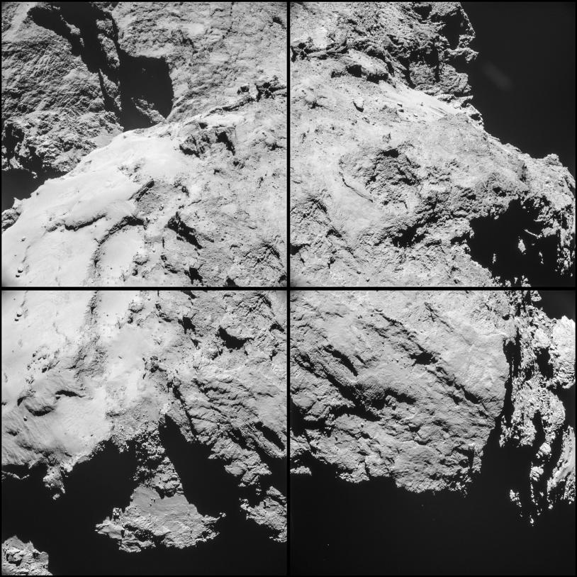 Séquence de 4 images réalisée par la NavCam de Rosetta, le 14 février 2015 à 10h15 TU, à 12,6 km de distance du centre du noyau ; résolution de 1,1 m/pixel. Le grand lobe est au premier plan. Crédits : ESA/Rosetta/NAVCAM – CC BY-SA IGO 3.0.